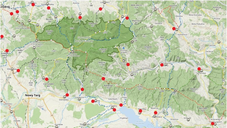 Mapa dowozu na szlaki turystyczne